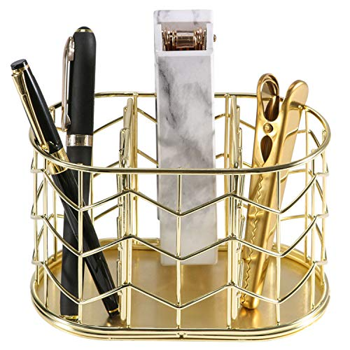 Pen Holder, Nugorise 3 Compartment Metal Pencil Holder, Decorative Desk Storage Organizer Container for Stationery and Desk Accessories, Gold