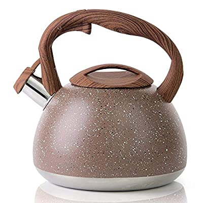 Tea Kettle, VONIKI 2.8 Quart Tea Kettles Stovetop Whistling Stainless Steel Teapot For Stovetop Natural Stone Coating With Anti-heat Handle Coffee Kettle Induction Teapots