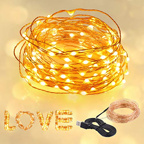 SUNNEST LED Copper Light, Warm White Fairy 10M 100 Lights Waterproof Garden Light Suitable for Outdoor/Indoor Use, Christmas, Party, Wedding Decorations