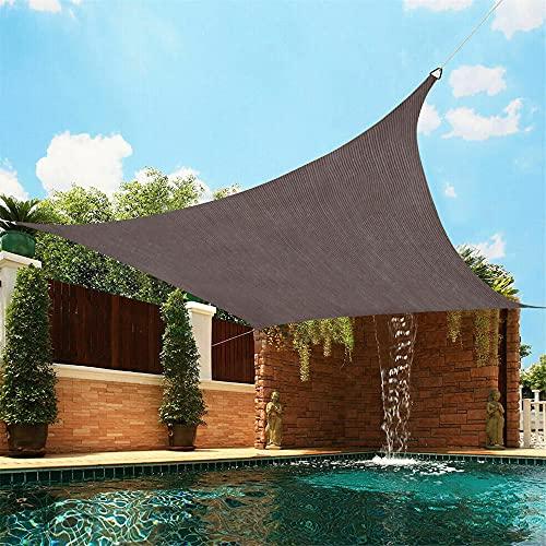 DATOU marrón Vela de Sombra Solar Toldo con protección Solar Resistente al Agua 98% Bloque UV para Fiesta en el Patio del jardín al Aire Libre con 4 Cuerdas Libres(Size:4x4m/157.5 X157.5in)