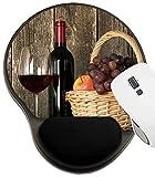 ASKSWF Tapis de Souris protégé par Repose-Poignets, Tapis avec Support de Poignet, ID de l'image: 24235040 Bouteille de Nature Morte en Verre de vin Rouge et Panier de Fruits