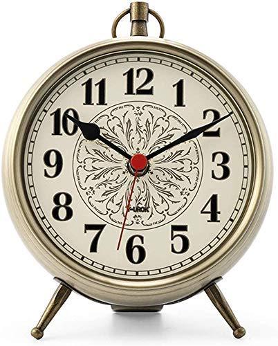 YEESEU Reloj de Mesa Familia Relojes de Silencio de la Sala Dormitorio de Noche Retro del Metal Reloj de Mesa Adecuado for Vivir Oficina de la habitación Dormitorio (Color, Rojo), Bronce