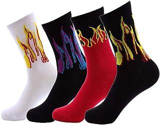 TTD, 4 packs Unisex Flame estampado calcetines moda Hip Hop calcetines de skate soft-Breathable algodón deportes deportivos calcetines