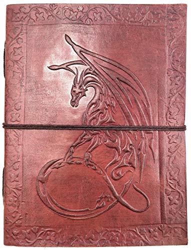 Kooly Zen notitieboek, notitieblok, dagboek, echt leer, vintage, draak, 13 cm x 17 cm, premium papier