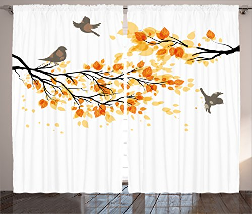 Ambesonne Fall Curtains, Branch Pale Autumn Leaves and Birds Natural Change in Season Summertime Print, Living Room Bedroom Window Drapes 2 Panel Set, 108' X 84', Yellow Cream