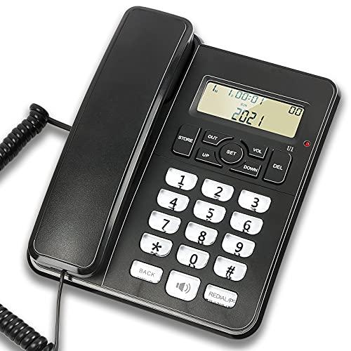 Teléfono de sobremesa con cable para casa, hotel, oficina, volumen de llamada y altavoz ajustable, función de suspensión automática, identificador de llamada, color negro