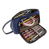 Estuche de Lápices de Gran Capacidad Multifuncional Bolsa de Lona Premium Bolsa de Lápiz Organizador de Papelería Estuche Maquillaje Plumier con Cremallera para Niñas y Niños Estudiantes (Azul)