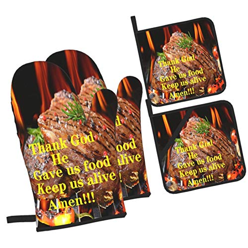 Lianmei Thank God Oven Mitts Set of 4, Kitchen Oven Mitts and Pot Holders Farmhouse, Non-Slip Heat Resistant Oven Mitts for Kitchen, Cooking, BBQ, Baking, Grillin