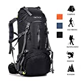 ONEPACK 50L(45+5) Hiking Backpack Waterproof Backpacking Bag Outdoor Sport Daypack for Climbing Mountaineering Camping Fishing Travel Cycling Skiing with Rain Cover (Black)