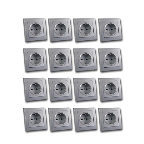DELPHI 16er Set Schutzkontakt-Steckdosen silber 250V~/16A
