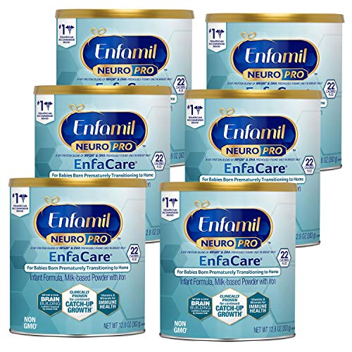 Enfamil NeuroPro EnfaCare Premature Baby Formula Milk Based w/ Iron 12.8 Oz, Powder Can (Pack of 6)