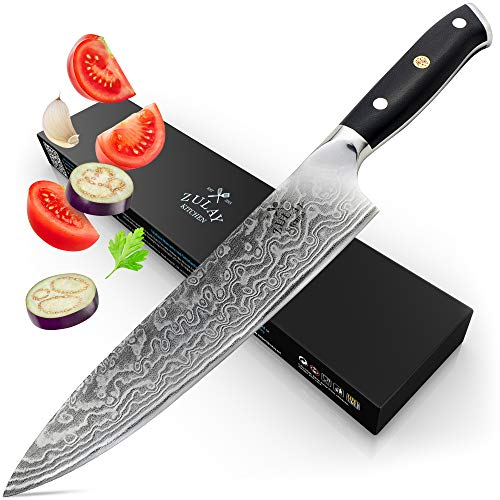 Zulay Professional Chef Knife 8 Inch – 67-Layer Japanese AUS-10 Super-Steel Damascus Blade Premium Kitchen Chef Knife – Premium Packaging, Guard Sheath and Cleaning Cloth Included