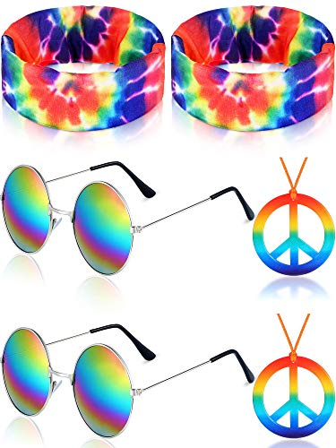 Hippie Costume Set, Includes 2 Pieces Hippie Sunglasses, 2 Pieces Peace Sign Necklace and 2 Pieces Hippie Headband for 60s or 70s Hippie Dressing Accessories (Style Set 3)
