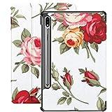 Funda para Galaxy Tab S7 Funda Delgada y Ligera con Soporte para Tableta Samsung Galaxy Tab S7 de 11 Pulgadas Sm-t870 Sm-t875 Sm-t878 2020 Release, Decorativo Vintage Rose Bud Vector Set