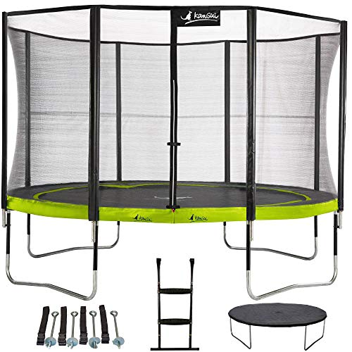Kangui - Trampoline de Jardin 365 cm + Filet + échelle + bâche + kit d'ancrage PUNCHI Vert.