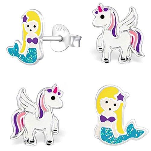 2 Paar Pegasus Einhorn + Glitzer Meerjungfrau Set Ohrstecker 925 Echt Silber Mädchen Kinder Ohrringe (Pegasus Lila-Weiß)