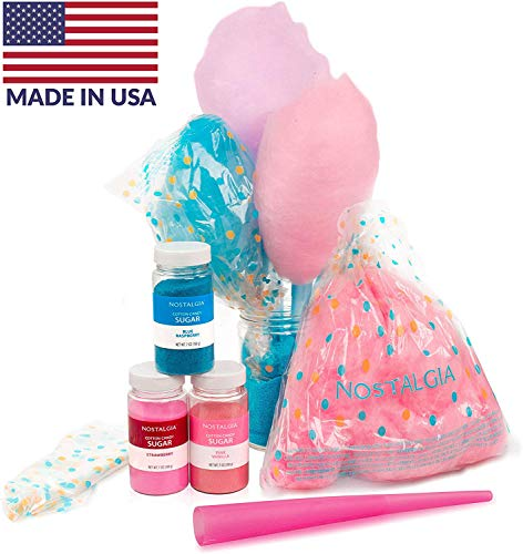 Nostalgia FSCC8 Cotton Candy Party Kit 3 Flavors, 4 Reusable Cones, 10 Floss Bags, 1