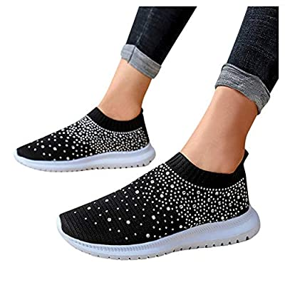 Aniywn Women's Sports Shoes Breathable Mesh Flat Running Shoes Casual Slip On Walking Shoes Lightweight Sneakers