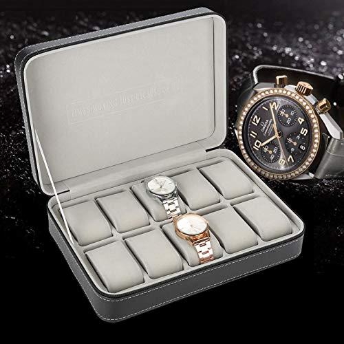 Caja porta relojes, 10 ranuras de madera para relojes, almohadillas extraíbles, cierre con cremallera de metal, caja para relojes y joyas