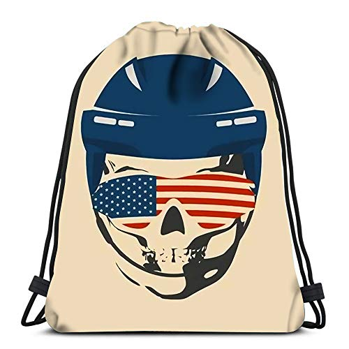 Kkyoxdiy Backpack Drawstring Bag Anatomic Skull Wearing Classic Ice Hockey Helmet and Sunglasses Textured by Flag of Usa