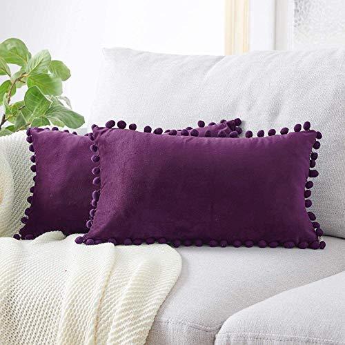Cojines de Terciopelo para Exteriores 2 Fundas de cojín Funda de Almohada Decorativa Recortada Almohada para sofás Camas Sillas-40x80cm_Púrpura