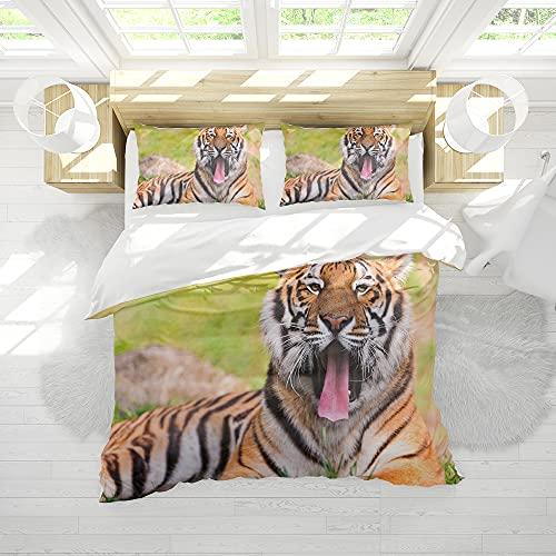 Bettbezug Set 3D Tiger Tier Bettwäsche Set Kinder Jungen Bettbezug Schlafzimmer Kollektion 3Pcs Double Size