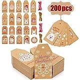 Evance 200 Etiquetas de Papel Kraft de Navidad con 40M Cordel de Yute, Etiquetas Navidad Decoracion Arbol (Marrón)