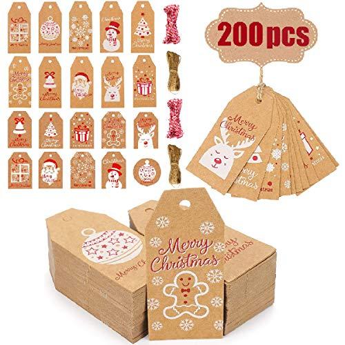 Evance 200PCS Kraft Etichette, Tag Regalo di Carta Kraft Natalizi,Etichetta Bagaglio, Etichetta Regalo di Natale con 40M Spago di Iuta per Natale Bomboniere e Artigianato Fai-da-Te (Marrone)