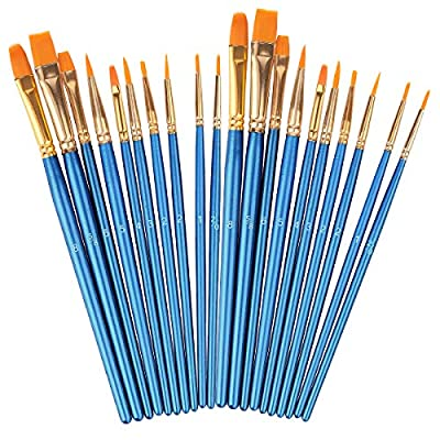 Acrylic Paint Brushes Set, Round Pointed Tip Artist Paintbrushes Nylon Hair Brushes for Oil Watercolor Painting, Face Body Model Paint, Nail Art, Miniature Detailing & Rock Painting
