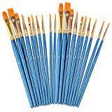 Soucolor Acrylic Paint Brushes Set, 20Pcs Artist Paintbrushes Paint Brushes for Acrylic Oil Watercolor, Body Face Painting, Rock Painting Kit, Fine Detail Miniature, Beginner/Kids Arts Crafts Supplies