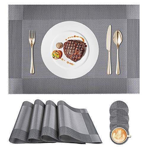 Tovagliette (Set di 4), Tovagliette Americana, PVC, Antiscivolo, Resistente al Calore, Resistente Allo Sporco e Lavabile, Adatto per Tavolo da Pranzo e Cucina 45x30 cm (Grigio)