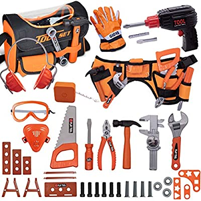 MAGIC4U Toy Tool Set for Boys 46pcs Pretend Play Construction Toy with Storage Bag&Kids Toolbelt, Electric Drill Toy, Tape Measure, Goggle Toys Durable Kids Tool Accessories for 3 4 5 6 Year Old Kids