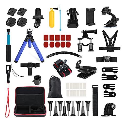 Andoer Set 60 in 1 Accessori per Action Camera, Accessori per Fotocamera Sportiva per GoPro Max1 Session Fusion Xiaomi