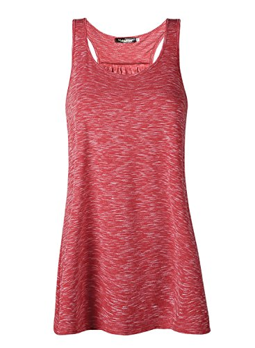 Lantch Damen Tank Top Sommer Sports Shirts Oberteile Frauen Baumwolle Lose for Yoga Jogging Laufen Workout, L, Rot