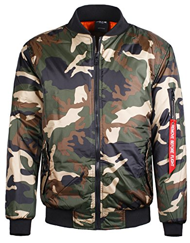 Guytalk Men's Reversible Flight Bomber Jacket Medium Camo Sage
