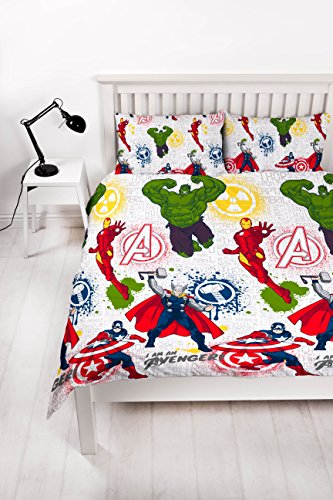 DISNEY MARVEL AVENGERS Marvel Avengers 'Mission' Double Duvet Set-Repeat Print Design, Microfibre, Multicolour