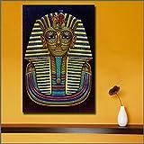 YIYEBAOFU DIY olgemalde auf leinwand handgemaltGroßformatdruck ägyptischer König Tutanchamun Tod Wandkunst Bild Hauptdekoration Wohnzimmer Moderne Leinwanddruck Malerei40x60cm(Kein Rahmen)