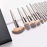 Pinceaux Maquillage, Dameso Professionnel Cosmétique Brush 15pcs Set Beauté Cosmétique Brush Poils Synthetiques Doux et Sans Cruauté, Makeup Brushes Cosmétique avec Étui de Voyage (Champagne d'or)