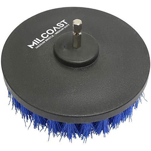 Milcoast 5-inch Round Full Bristle Medium Duty Drill Brush - Multi-Purpose Power Scrubbing Attachment for Power Drills - for Tile, Grout, Linoleum, and General Purpose Scrubbing (Medium Duty)