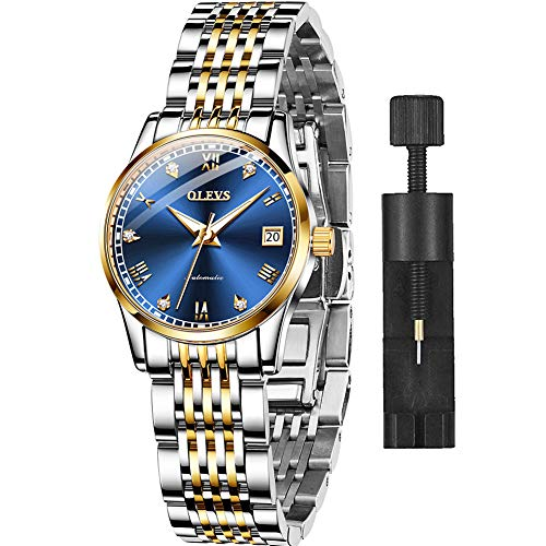 OLEVS Automatic Self Winding Watches for Women Stainless Steel Mechanical Watches Luxury Dress Women's Wrist Watches Day Date Roman Numerals Small Face Ladies Swiss Watches Blue Face,reloj de Mujer