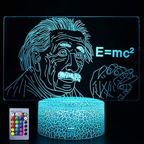 Einstein 3D Nachtlicht E = mc²Illusionslampe Ideale Geschenke für Kinder Jungen und Mädchen wie an Geburtstagen oder Feiertagen Weihnachten(Einstein)