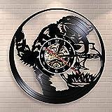 LIMN Reloj de Pared Kitty Cat Fishing in Fishbowl Reloj de Pared con Registro de Vinilo Reloj de Pared Black Cat Fishing Catcher Reloj Decorativo de Acuario Kitten Meow