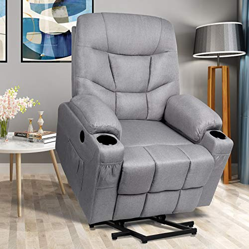 Power Lift Recliner Chair for Elderly Electric Massage Sofa with Heated Vibration,Side Pockets,Cup Holders, USB Ports,Massage Remote Control,Fabric Home Theater Seat Living Room Reclining Bed, Gray
