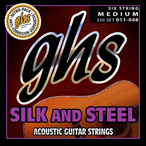 GHS Strings 350 Silk And Steel, Silver-Plated Copper Acoustic Guitar Strings, Medium (.011-.048)