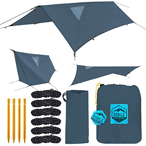 Ridge Outdoor Gear Rainfly Tent Tarp for Camping Hammock, Ripstop Polyester, 11 x 7.83 ft, Window Sky-View, Storm Flaps, Shelter (Green Ripstop Polyester)