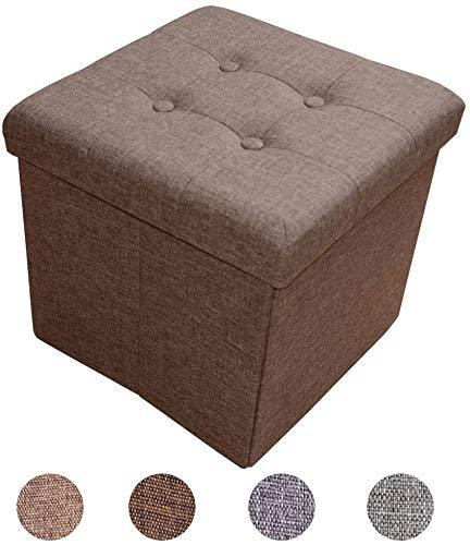 Style home Sitzbank Sitzhocker Sitzwürfel Aufbewahrungsbox Fußbank Hocker faltbar belastbar Leinen Dunkelbraun Farbauswahl Größenauswahl