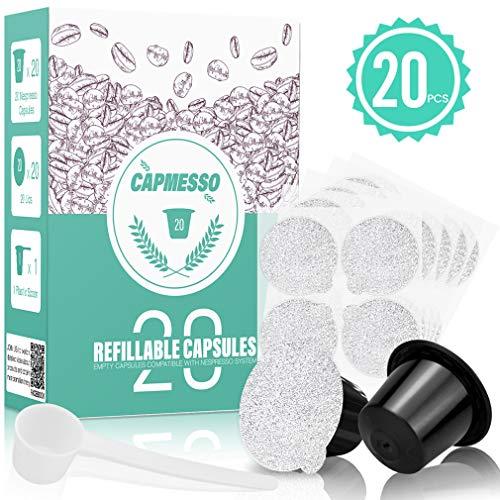CAPMESSO Reusable Espresso Capsules -Refillable Capsule Coffee Pods Filters Reusable 200 Times Compatible with Nespresso Original Line Machines (Black, 20 Pods+20 Lids+Scoop1)