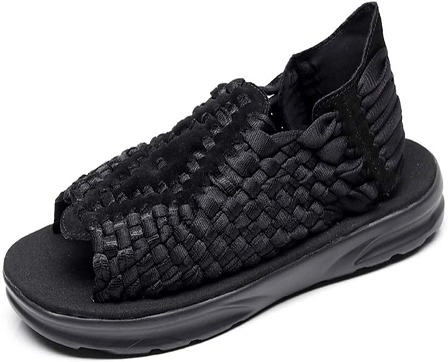 Hilotu Sandals for Men Stylish Knit Open Toe Casual shoes Soft Comfortable Sandals Indoor and Outdoor Beach Walking shoes Flat NonSlip Slippers (color   Black, Size   9 M US)