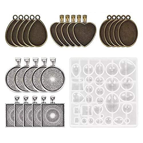 Gietvorm siliconenvorm-kit, meer dan 31 verschillende patronen, hars mold hars vorm sieraden vormen maken voor sieraden maken hanger ketting oorbellen decoratie sieradenstandaard DIY