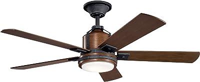 Kichler 300052DBK Colerne Ceiling Fan, 1-Light, Distressed Black
